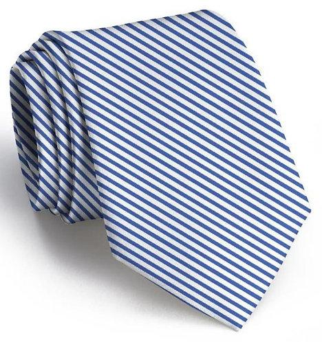 Navy & White Striped Silk Signature Men's Tie