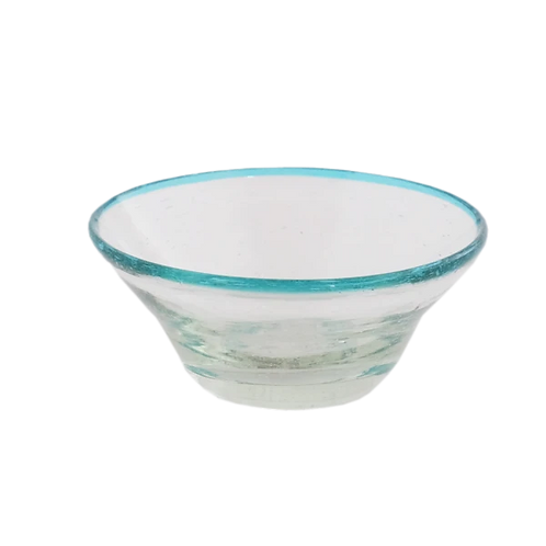 Tiny Aqua Rim Glass Bowl - Set of 2