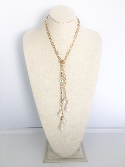 Golden Link Baroque Pearl Lariat Necklace