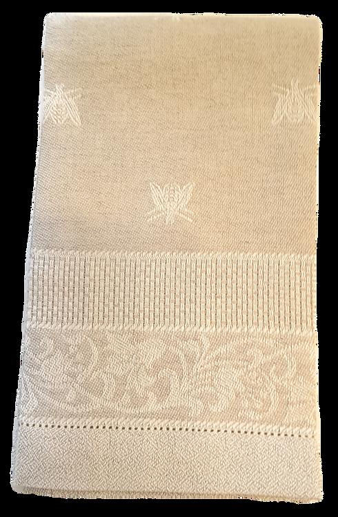 Beige & Ivory Cotton/Linen Bee Hand Towel