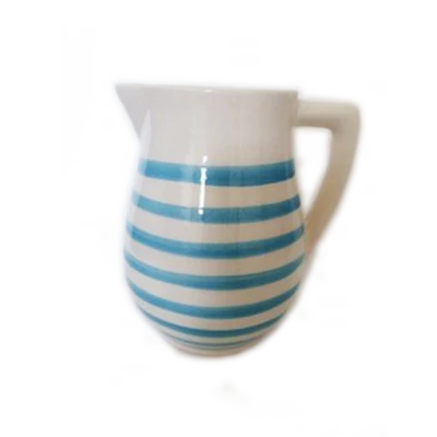 Striped Mid-Size Pitcher Turquoise &  White