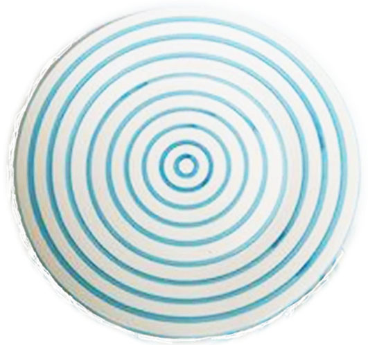 Striped Round Platter Turquoise &  White