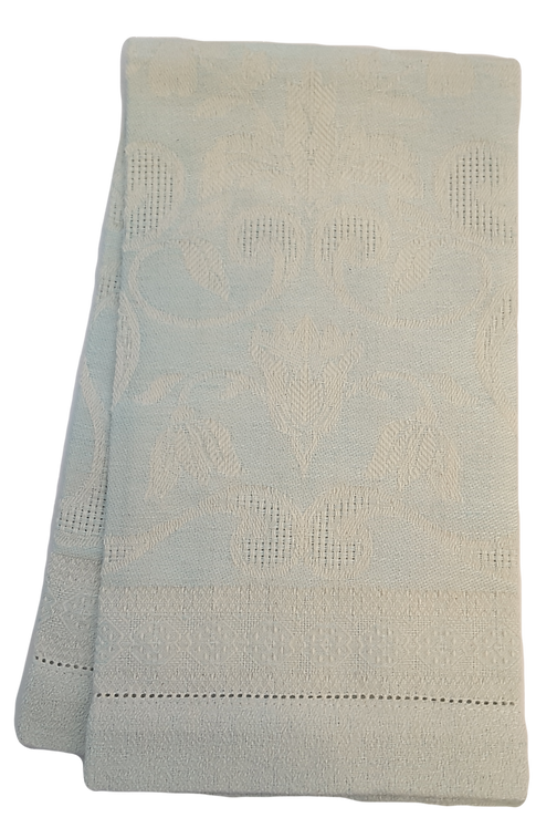 Linen Damask Hand Towel - Pale Aqua & Ivory