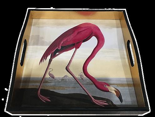 Pink Flamingo Lacquer Audobon Tray