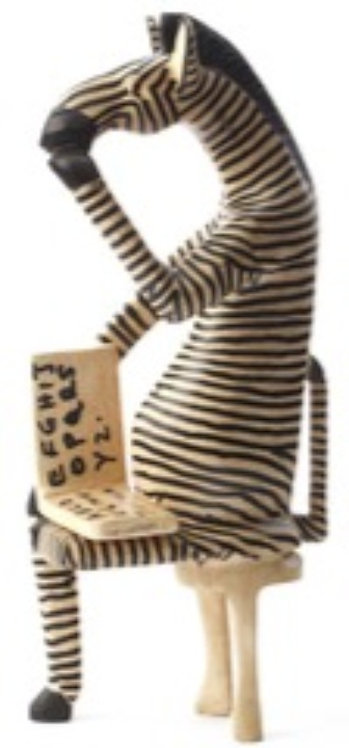 Sitting Zebra Reader Sculpture