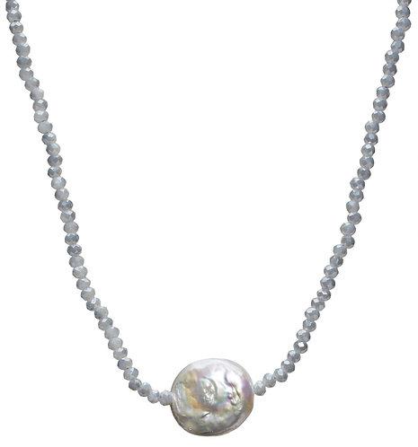 Petra Coin Necklace -Aqua