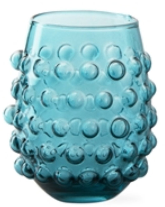 Hobnail Wine/Water Glass - Aqua - Set of 6