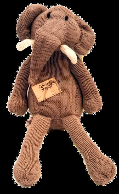 Grey Knit Kenyan Elephant 'Gentle Tembo' Toy