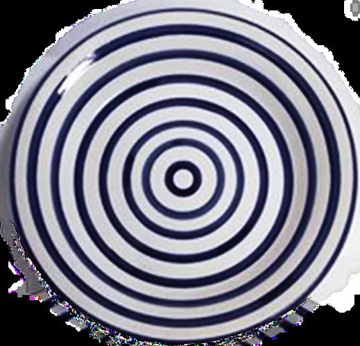 Striped Round Platter - Cobalt & White