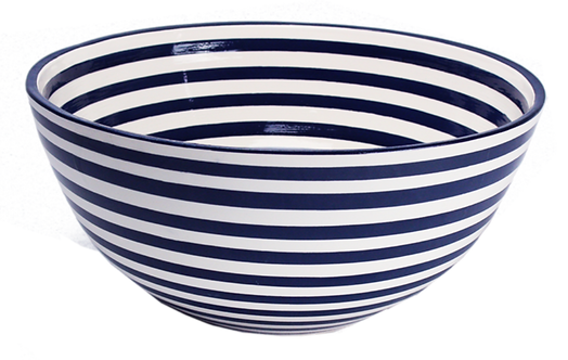 Striped Large Serving Bowl - Cobalt & White