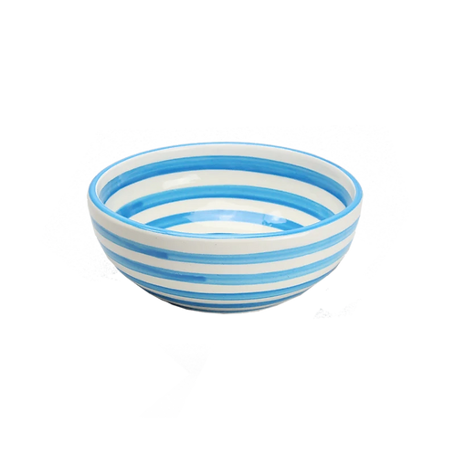 Striped Cereal Bowl Turquoise &  White - Set of 4