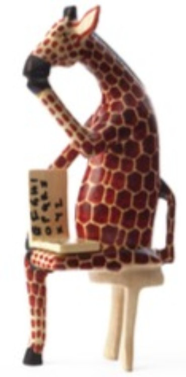 Sitting Giraffe Reader Sculpture