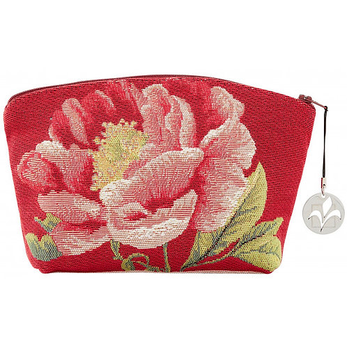 French Tapestry Cosmetic Bag - Peonies Red