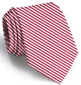 Red & White Stripe Silk Signature Men's Tie