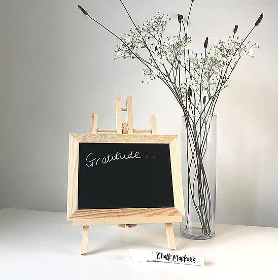 Daily Gratitude chalk board, easel & chalk pen