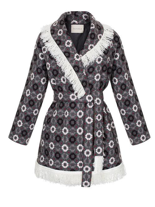 Пальто-кимано из шерсти с отделкой бахромы Initials