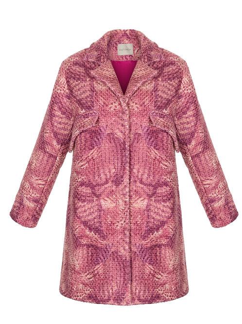 Пальто А-силуэта из шерсти и вискозы розового цвета