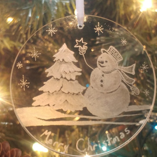 """Snowman placing a start on a tree ornament3"""" engraved glass $40"""