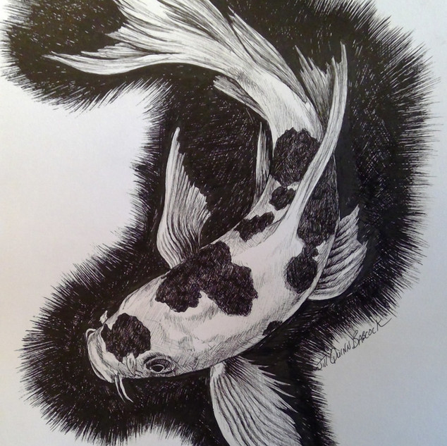 Koi fish in ink