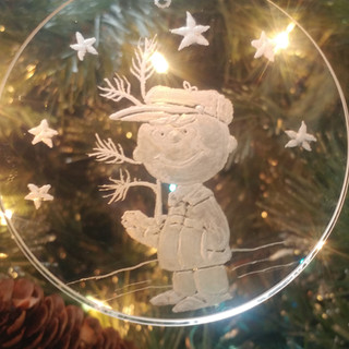 """Charlie Brown & the Christmas Tree Ornament3"""" engraved glass $40"""