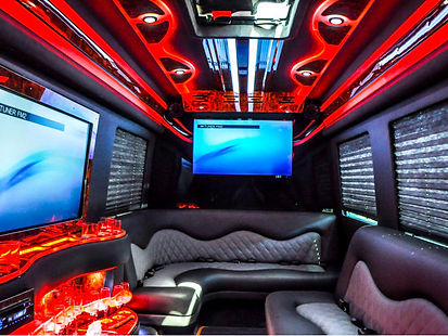 Party Bus Limo rental is available! Interior details are showcased in our new party bus. Luxury limo tours provided.