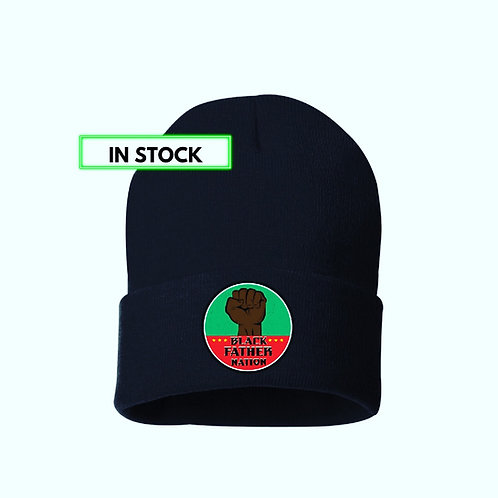 BLACK FATHER NATION LOGO BEANIE HAT
