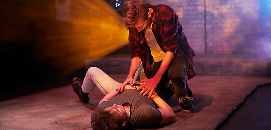 Mercutio (Jack Brett) and Romeo (Adam Ne
