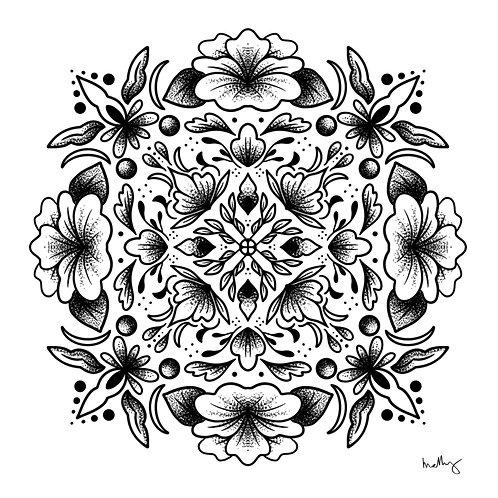 Black Floral Mandala