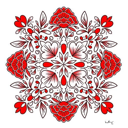 Red Floral Mandala