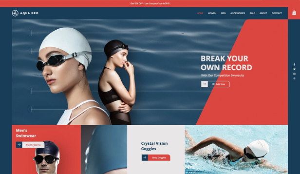 Sport og utendørs website templates – Swimwear Store