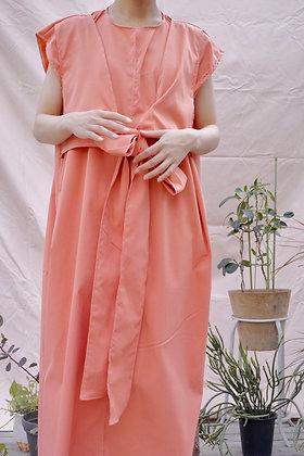 tie belt dress (salmon pink)