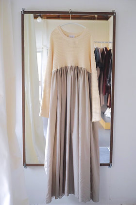 knit docking dress(ivory mix)
