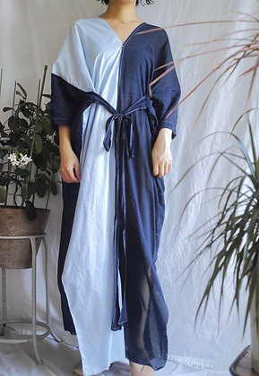 two-tone v neck dress