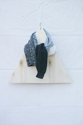 knit scarf (gray×navy mix)