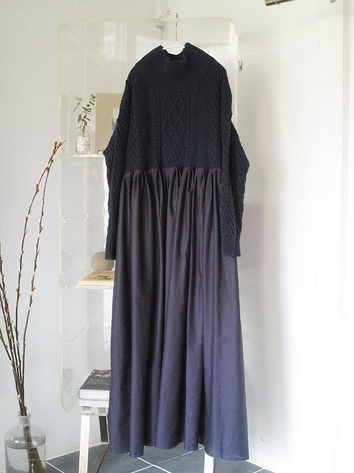 knit docking dress(navy mix)