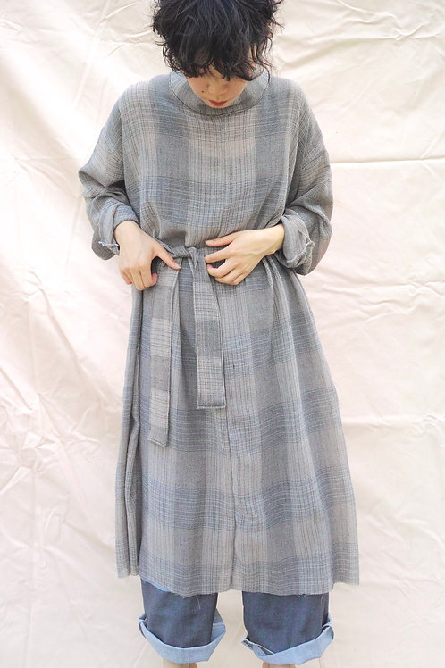back ribbon dress   (gray plaid)