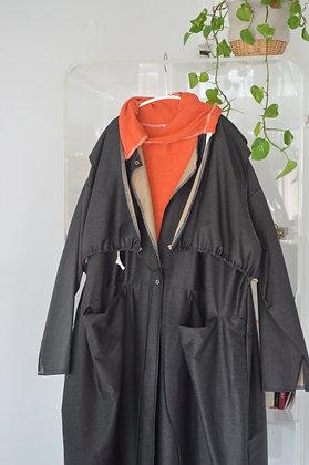drawstring layered coat