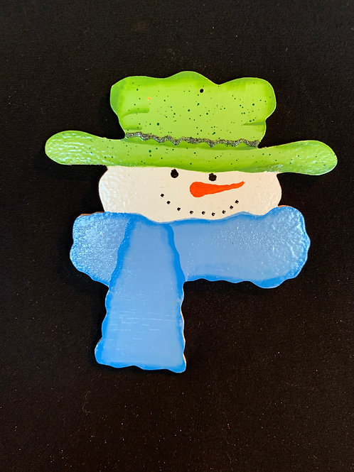 long scarf and hat snowman