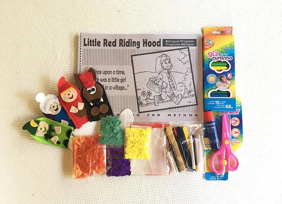 Kit  Little Red Riding Hood com kit colagem, com dedoches