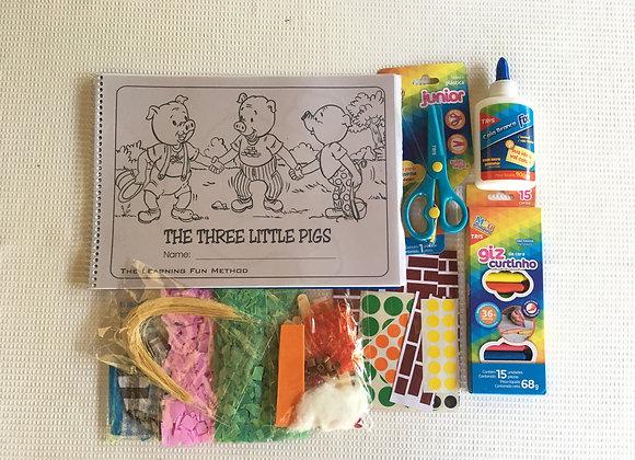 Livro de história e atividade The Three Little Pigs com kit colagem
