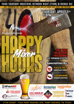 April Happy Hour Mixer Event Flyer for Accumulated Interests