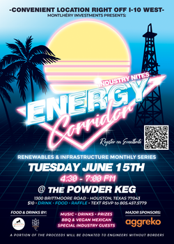 June 2021 Event Flyer for Barron Sawyer Montlhéry Investments - Energy Corridor Events