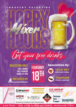 February Happy Hour Mixer Event Flyer for Accumulated Interests