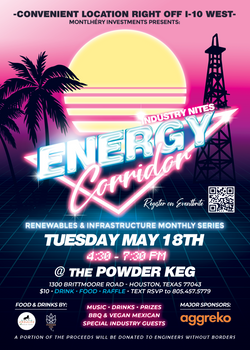 May 2021 Event Flyer for Barron Sawyer Montlhéry Investments - Energy Corridor Events