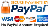 Secure payments by PayPal sticker showing we accept vias, mastercard, discover, and american express as well as PayPal.