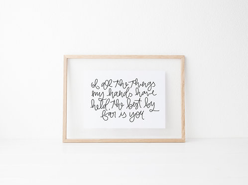 of all the things my hands have held nursery print