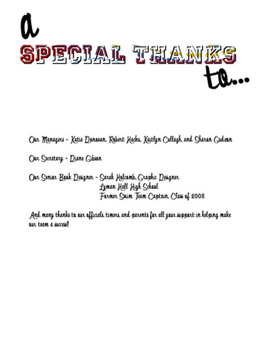 Special Thanks Page