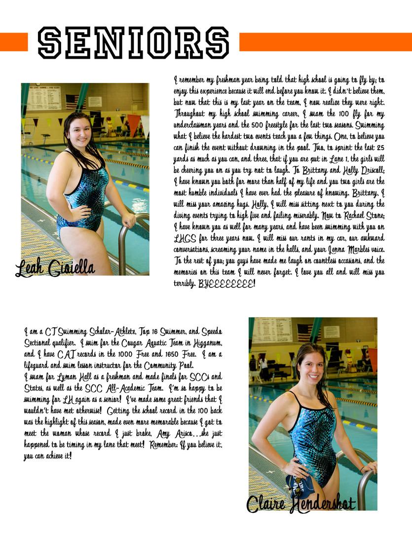 LHHS Swim Team Seniors