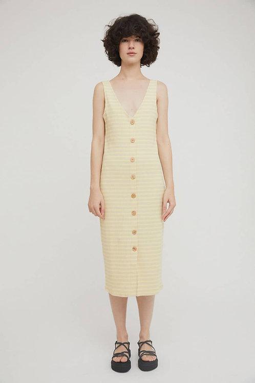 Damaris Dress Beige Stripes