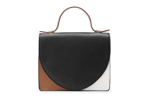 Mieke Dierckx Mini Briefcase Color Combi -  Black, Cognac, White
